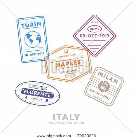 Italy travel visa stamps vector isolated on white background. Arrivals sign rubber stamps. Turin, Rome, Naples, Milan, Florence cities sign. Visa stamps collection. Realistic visa stamps with different place.