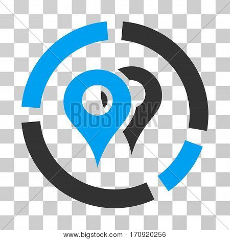 Geo Diagram icon. Vector illustration style is flat iconic bicolor symbol blue and gray colors transparent background. Designed for web and software interfaces.
