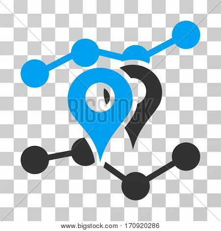 Geo Trends icon. Vector illustration style is flat iconic bicolor symbol blue and gray colors transparent background. Designed for web and software interfaces.