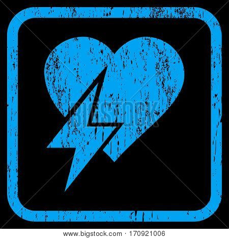 Heart Shock rubber watermark. Vector pictogram symbol inside rounded rectangle with grunge design and dirty texture. Stamp seal illustration. Unclean blue ink sign on a black background.