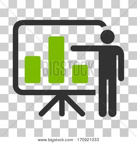 Bar Chart Presentation icon. Vector illustration style is flat iconic bicolor symbol eco green and gray colors transparent background. Designed for web and software interfaces.