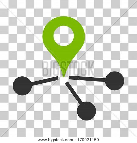 Geo Network icon. Vector illustration style is flat iconic bicolor symbol eco green and gray colors transparent background. Designed for web and software interfaces.