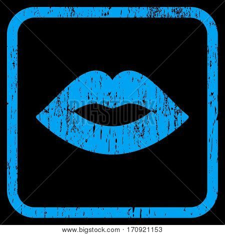 Lips rubber watermark. Vector pictogram symbol inside rounded rectangular frame with grunge design and dust texture. Stamp seal illustration. Unclean blue ink sticker on a black background.