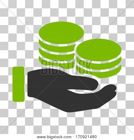 Salary Hand icon. Vector illustration style is flat iconic bicolor symbol eco green and gray colors transparent background. Designed for web and software interfaces.