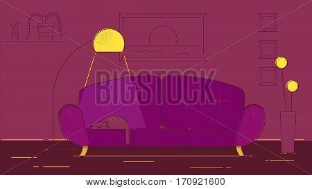 Living room witha a cat vector illustration violet palette