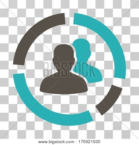 Demography Diagram icon. Vector illustration style is flat iconic bicolor symbol grey and cyan colors transparent background. Designed for web and software interfaces.