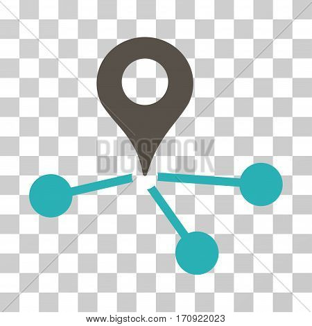 Geo Network icon. Vector illustration style is flat iconic bicolor symbol grey and cyan colors transparent background. Designed for web and software interfaces.