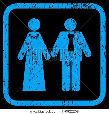 Newlyweds rubber watermark. Vector pictogram symbol inside rounded rectangle with grunge design and unclean texture. Stamp seal illustration. Unclean blue ink sticker on a black background.