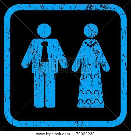 Newlyweds rubber watermark. Vector icon symbol inside rounded rectangular frame with grunge design and unclean texture. Stamp seal illustration. Unclean blue ink sign on a black background.