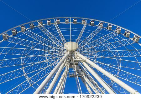 Brisbane, Australia - September 24, 2016: View of the Wheel of Brisbane in daytime. It is located at the northern entrance to South Bank Parklands in Brisbane CBD and is a popular tourist attraction.