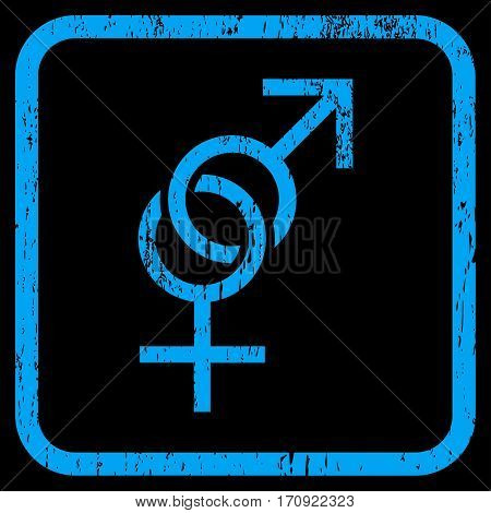 Sex Symbol rubber watermark. Vector icon symbol inside rounded rectangle with grunge design and scratched texture. Stamp seal illustration. Unclean blue ink emblem on a black background.