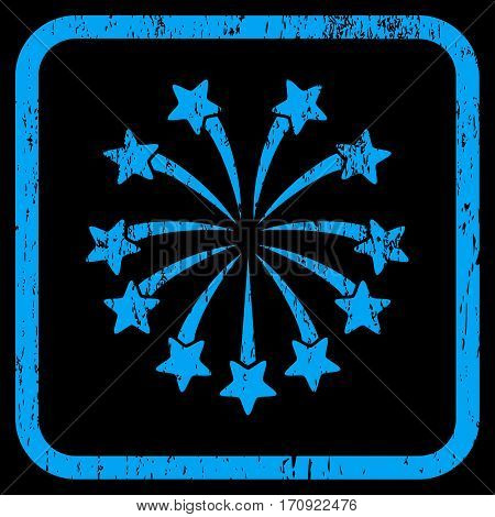 Spherical Fireworks rubber watermark. Vector icon symbol inside rounded rectangular frame with grunge design and dust texture. Stamp seal illustration. Unclean blue ink sign on a black background.