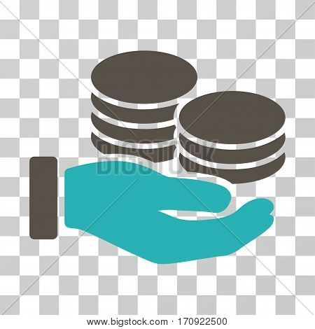 Salary Hand icon. Vector illustration style is flat iconic bicolor symbol grey and cyan colors transparent background. Designed for web and software interfaces.