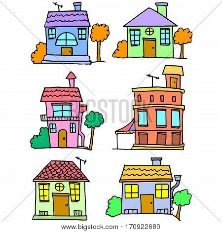 Illustration vector of house set collection stock
