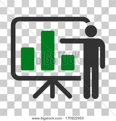 Bar Chart Presentation icon. Vector illustration style is flat iconic bicolor symbol green and gray colors transparent background. Designed for web and software interfaces.