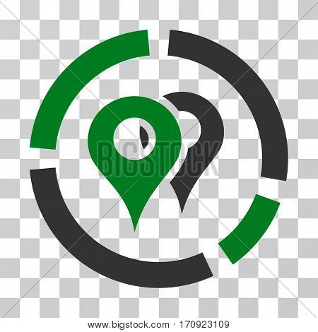 Geo Diagram icon. Vector illustration style is flat iconic bicolor symbol green and gray colors transparent background. Designed for web and software interfaces.