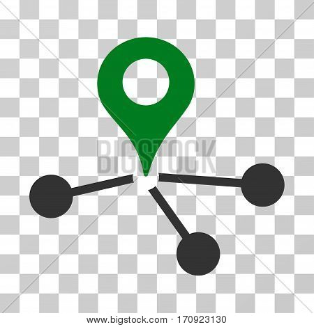 Geo Network icon. Vector illustration style is flat iconic bicolor symbol green and gray colors transparent background. Designed for web and software interfaces.
