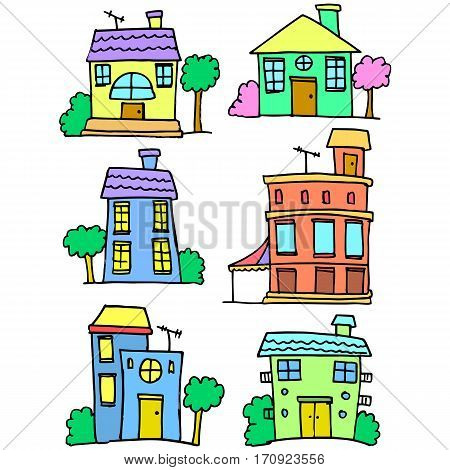 Vector art of house set colorful collection stock