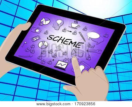 Scheme Icons Shows Tactic Schemes 3D Illustration