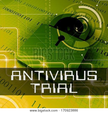 Antivirus Trial Shows Anti Virus Evaluation 3D Rendering