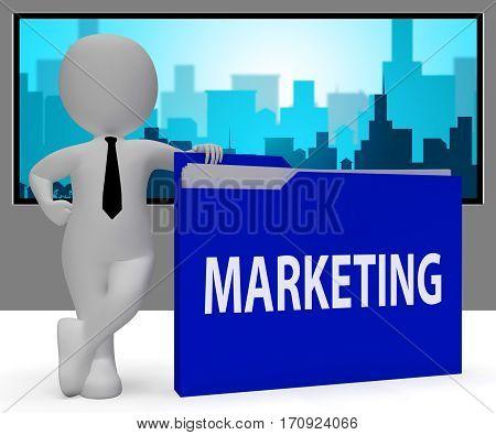 Marketing Folder Shows Sales Advertising 3D Rendering