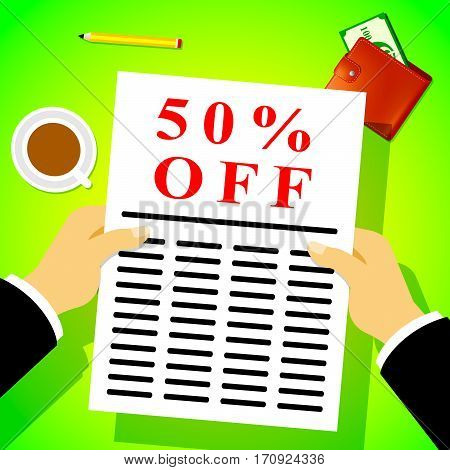 Fifty Percent Off Means Sale 50% 3D Illustration