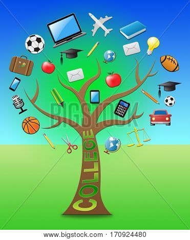 College Tree Shows Study And Studying 3D Illustration