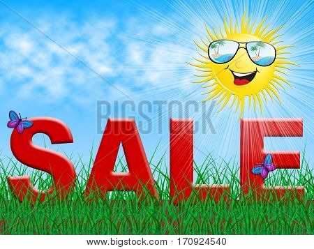 Sale And Sun Shows Summer Bargains 3D Illustration