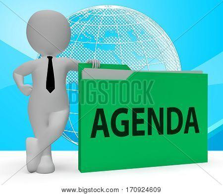 Agenda Folder Representing Binder Schedule 3D Rendering