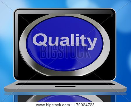 Quality Button Representing Excellent Service 3D Rendering