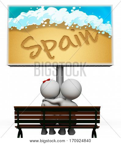 Spain Holiday Meaning Europe Getaway 3D Illustration