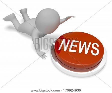 News Button Displays Reporting Media 3D Illustration