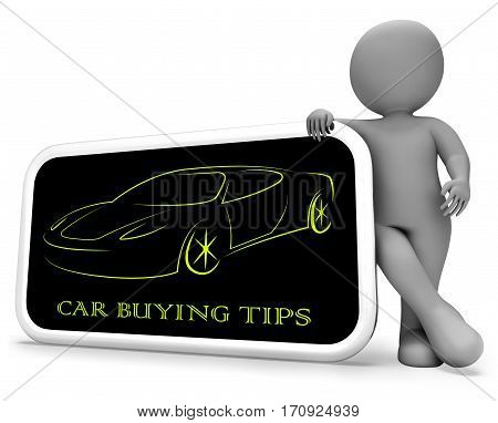 Car Buying Tips Shows Hints Advice 3D Rendering
