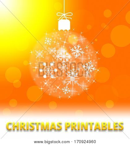 Christmas Printables Means Xmas Picture 3D Illustration