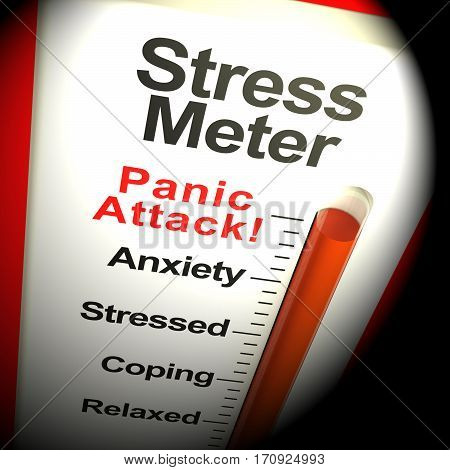 Stress Meter Thermometer Showing Panic Attack From Stressing 3d Rendering poster