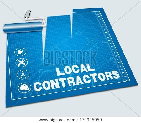 Local Contractors Shows Nearby Builders 3D Illustration
