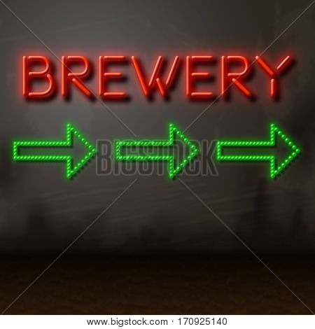 Brewery Sign Directs To Brewing Factory Manufacturing