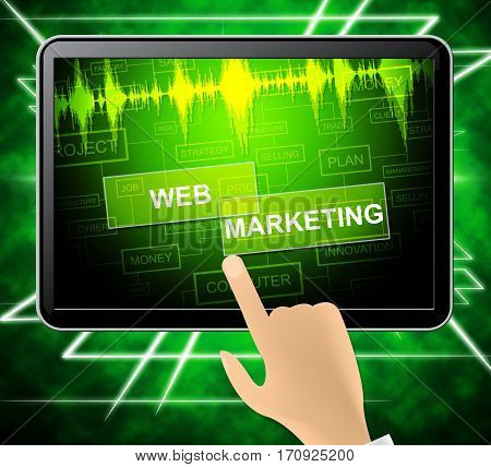 Web Marketing Means Network Sem 3D Illustration