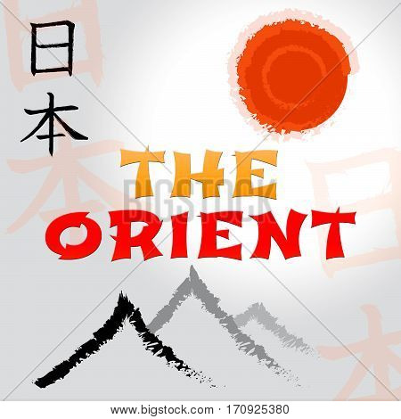 The Orient Symbols Indicating Asian Tours 3D Illustration