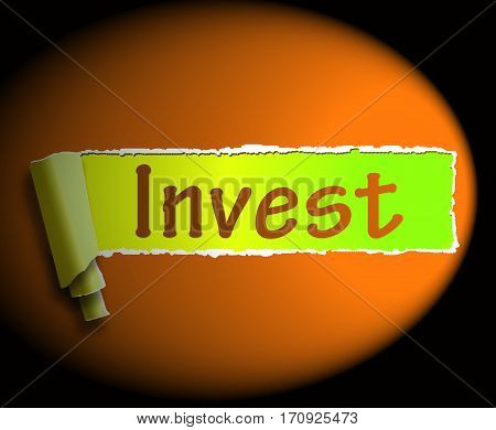 Invest Word Shows Internet Investment 3D Rendering