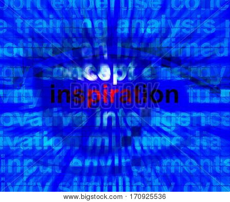 Inspiration Word Zooming Showing Positive Thinking 3D Illustration