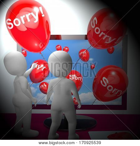 Sorry Balloons Showing Online Apology 3D Rendering