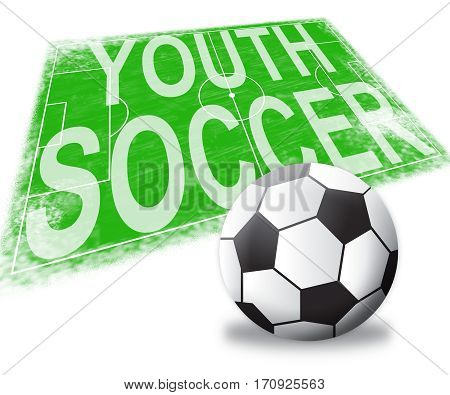Youth Soccer Shows Teen Football 3D Illustration