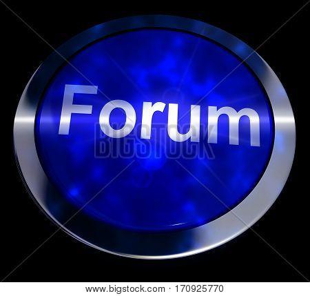Forum Button For Social Media Community 3D Rendering