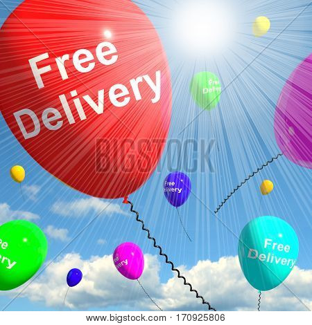 Free Delivery Balloons Showing No Charge 3D Rendering