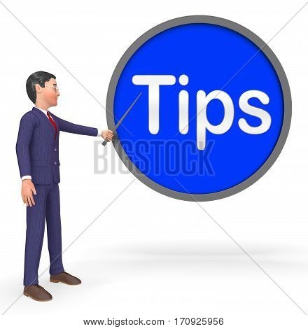 Hint Sign Shows Tip Assistance 3D Rendering