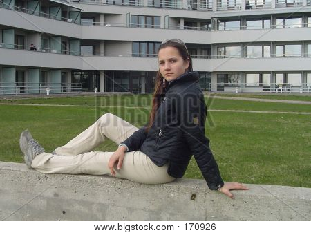 Girl In Front Of A Health Centre