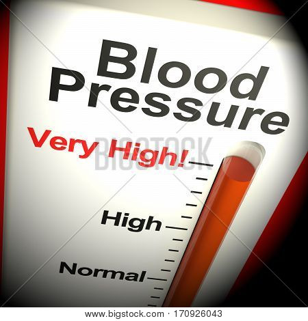 Very High Blood Pressure Shows Hypertension 3D Rendering