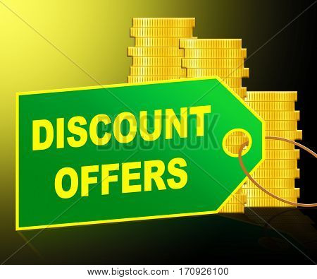 Discount Offers Showing Sale Promo 3D Illustration