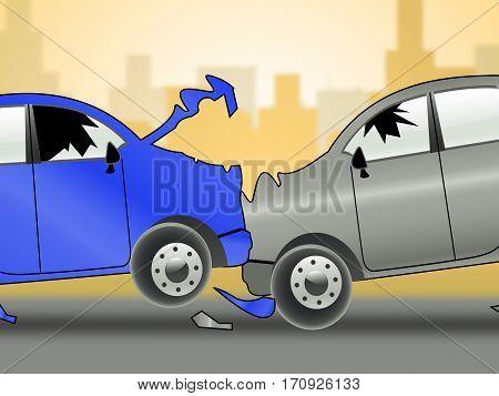 Car Accident Showing Auto Crash 3D Illustration